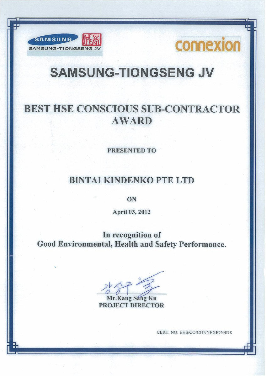 Certifications accolades bintai kindenko best ehs conscious sub contractor award apr 2012 1betcityfo Image collections
