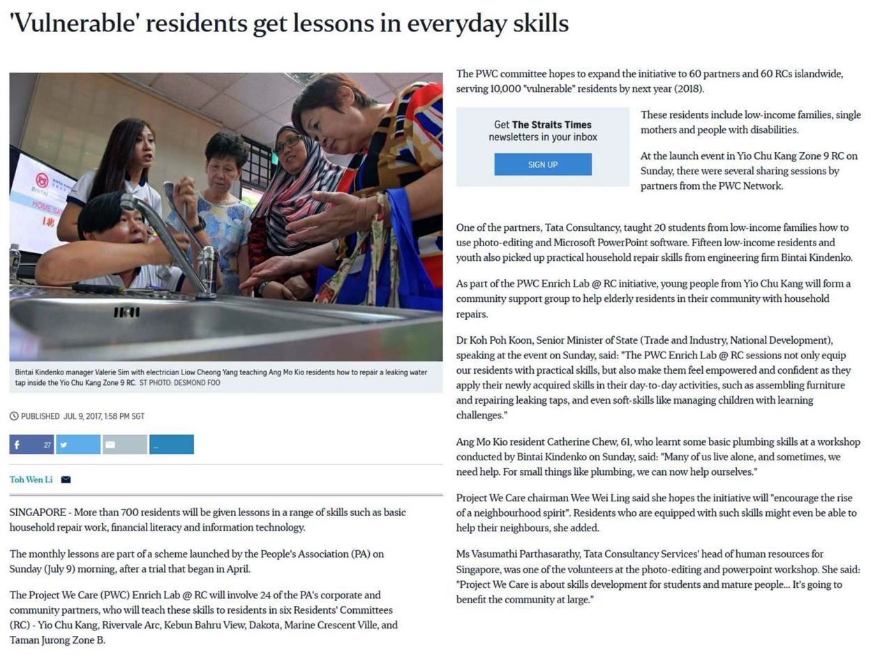 "The Straits Time Online (9 Jul), ""'Vulnerable' residents get lessons in everyday skills"""